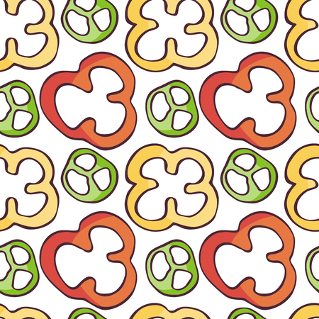 Colorful seamless pattern in a doodle style. Vector background. Ilustração