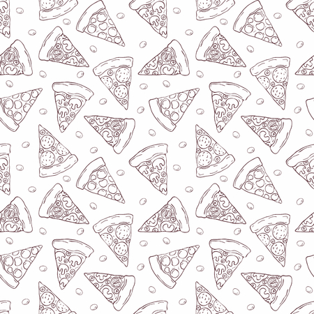 Seamless pattern in doodle style with the image of a sliced ??pizza. Vector background.
