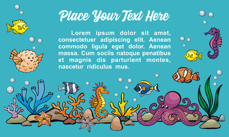 Image of lovely sea people in doodle style. Vector background.