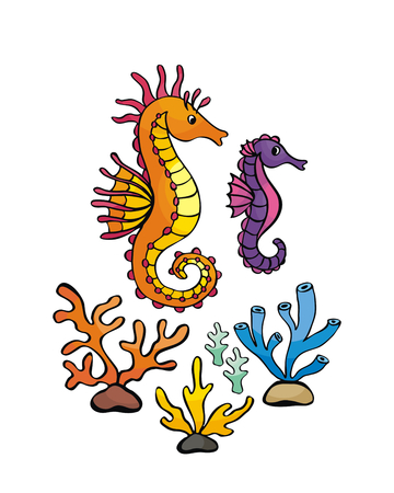 Image of lovely sea people in doodle style. Vector illustration isolated on a white background. Illustration