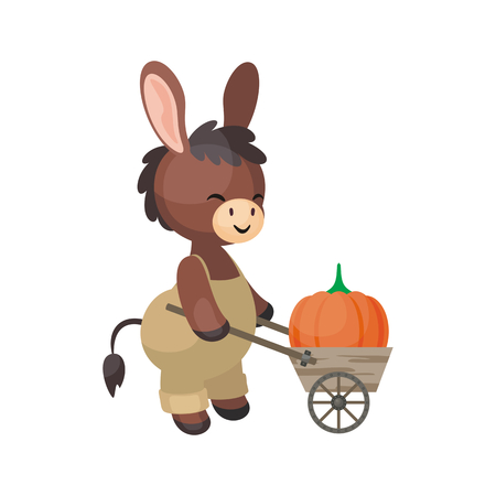 Cute donkey with a wheelbarrow in a cartoon style. Vector illustration isolated on a white background.