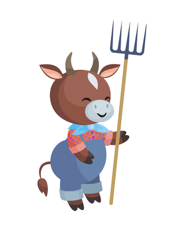 Bull with a pitchfork in a cartoon style. Vector illustration isolated on a white background.