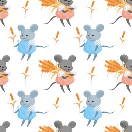 Full-color seamless pattern with the image of a cute mouse in the wheat field. Vector background. Standard-Bild - 104937425