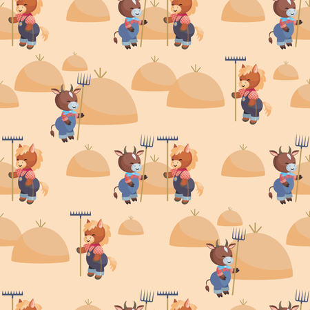Full-color seamless pattern with the image of cute farm animals. Vector background.