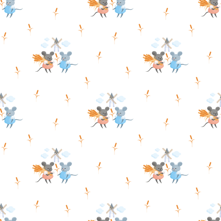 Full-color seamless pattern with the image of a cute mouse in the wheat field. Vector background. Standard-Bild - 104937431