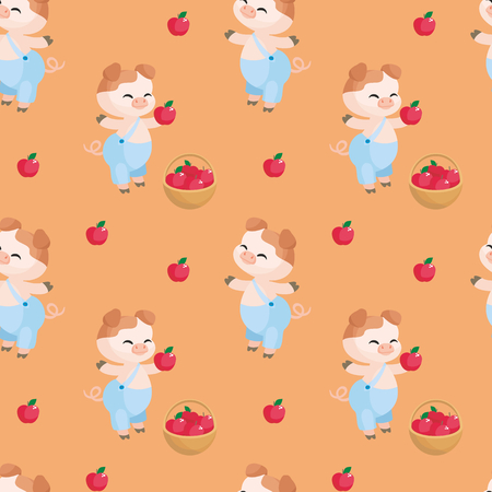 Colorful seamless pattern with the image of cute sheep pig. Vector background.