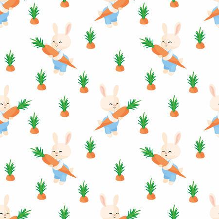 Colorful seamless pattern with the image of cute rabbit and carrot. Vector background.