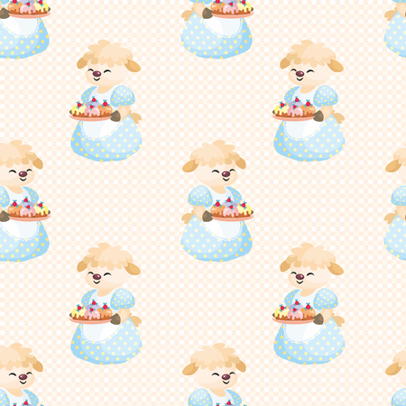 Colorful seamless pattern with the image of cute sheep. Vector background. Illustration