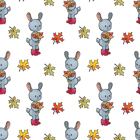 Autumn seamless pattern with cute forest animals in doodle style. Colorful vector background. Illustration