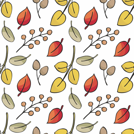 Seamless pattern with autumn leaves. Colorful vector background.