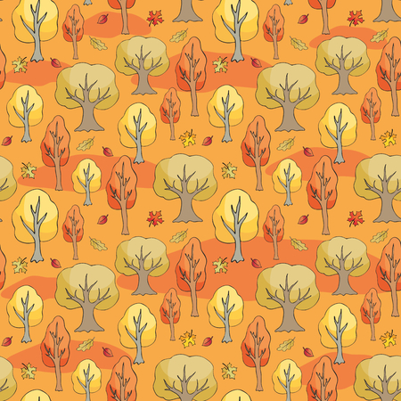 Seamless pattern with autumn woodland. Colorful vector background. Illustration