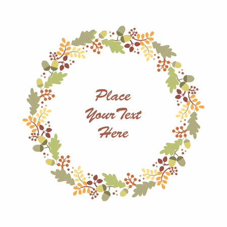 Beautiful autumn wreath with branches and leaves on a white background. Floral round frame. Illustration