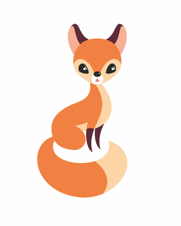 Cutefox in cartoon stile isolated on a white background. Childhood vector illustration.
