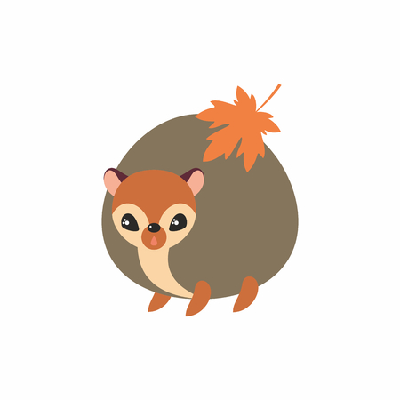 Cute hedgehogl in cartoon stile isolated on a white background. Childhood vector illustration.
