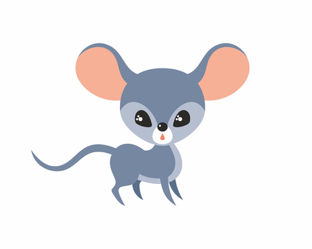 Cute mouse in cartoon stile isolated on a white background. Childhood vector illustration.