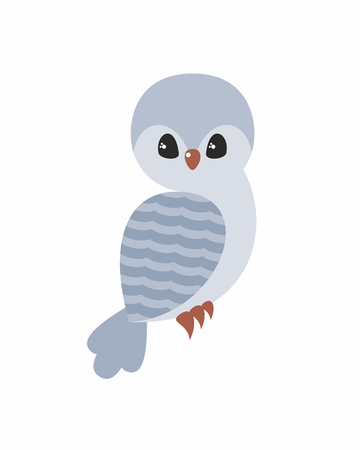 Cute owl in cartoon stile isolated on a white background. Childhood vector illustration.