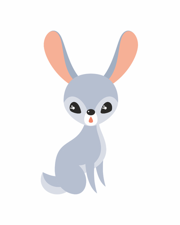 Cute rabbit in cartoon stile isolated on a white background. Childhood vector illustration. Illustration
