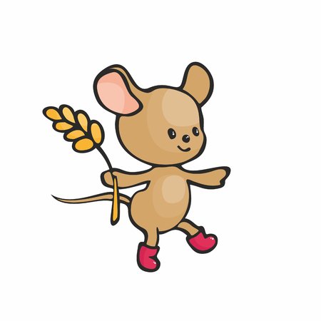 Cute mouse in doodle style isolated on a white background. Childhood vector illustration. Illustration