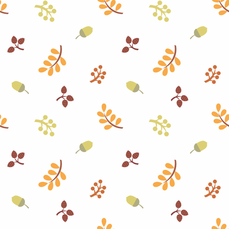 Colorful seamless pattern with autumn leaves and branches. Childhood vector background.