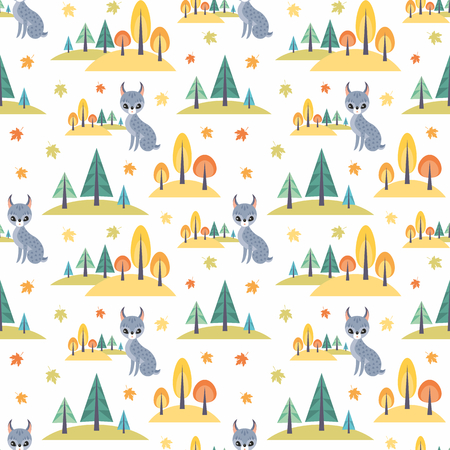 Autumn seamless pattern with cute forest animals in cartoon style. Childhood vector background.