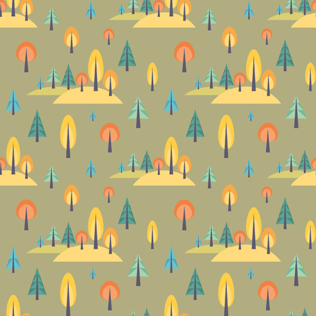 Colorful seamless pattern with autumn forest. Childhood vector background. Illustration