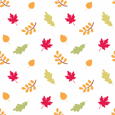 Colorful seamless pattern with autumn leaves. Childhood vector background.
