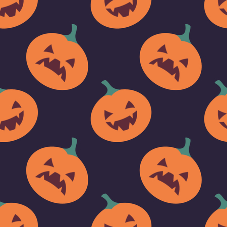Seamless pattern with traditional elements of Halloween. Vector background in cartoon style.