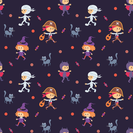 Seamless pattern with traditional characters of Halloween. Vector background in cartoon style.