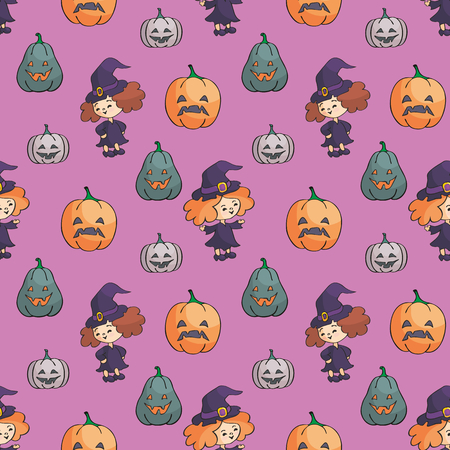Halloween seamless pattern in doodle style. Childhood vector background.