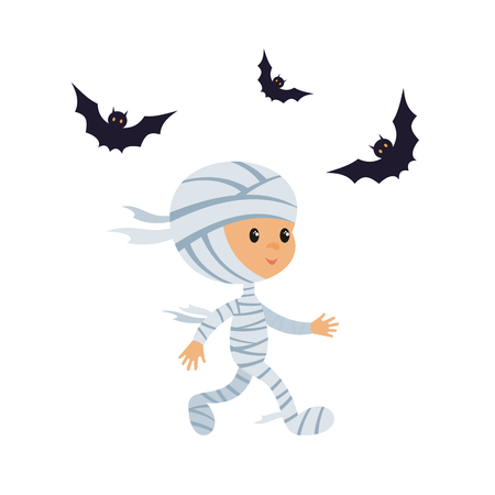 Little kid in a Halloween costume. Vector illustration in cartoon style isolated on white background.