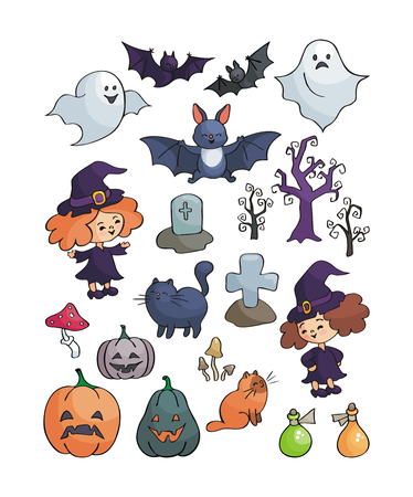 Halloween set. Vector illustrations in doodle style isolated on white background.