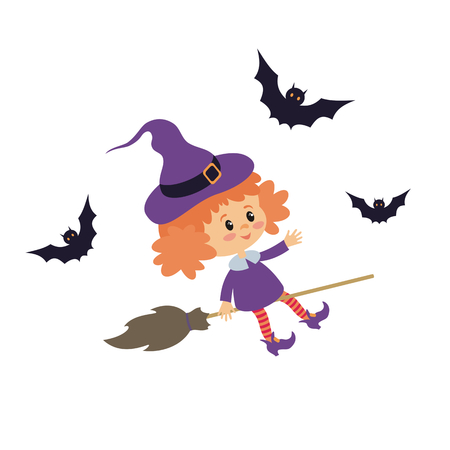 Little girl in a Halloween costume. Vector illustration in cartoon style isolated on white background.