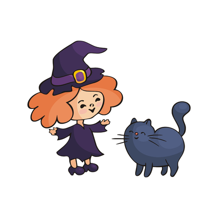 Little girl in a Halloween costume. Vector illustration in doodle style isolated on white background. Illustration