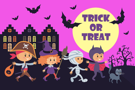 Little kids in a Halloween costumes. Vector illustration in cartoon style isolated on white background.