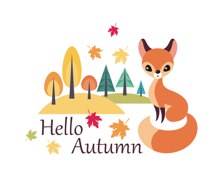 Cute fox in cartoon style isolated on a white background. Autumn poster. Illustration