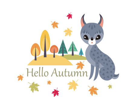 Cute lynx in cartoon style isolated on a white background. Autumn poster. Illustration