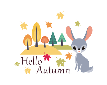 Cute rabbit in cartoon style isolated on a white background. Autumn poster. Illustration