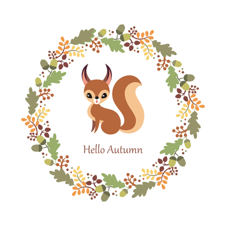 Cute squirrel in cartoon style isolated on a white background. Autumn poster.