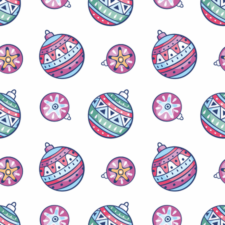 Seamless pattern with Christmas balls. Childhood vector background in doodle style. Illustration