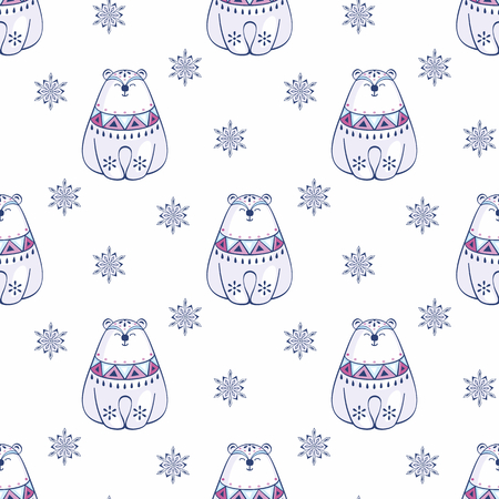 Christmas seamless pattern with cute polar bear. Childhood vector background in ethnic style.