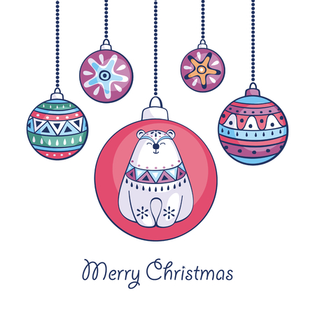Christmas greeting card with cute polar bear and balls in ethnic style on a white background.