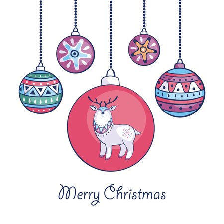Christmas greeting card with cute reindeer and balls in ethnic style on a white background.