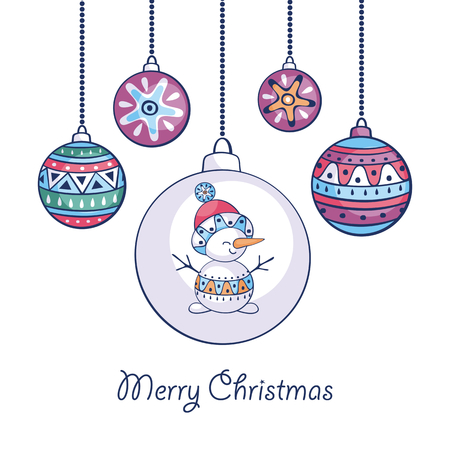 Christmas greeting card with cute snowman and balls in ethnic style  on a white background.