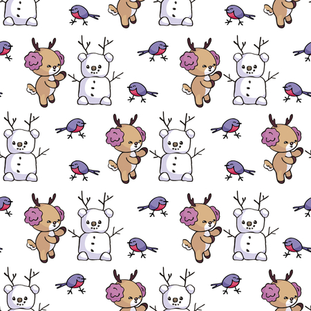 Seamless pattern with cute little fawn in doodle style. Christmas vector background.
