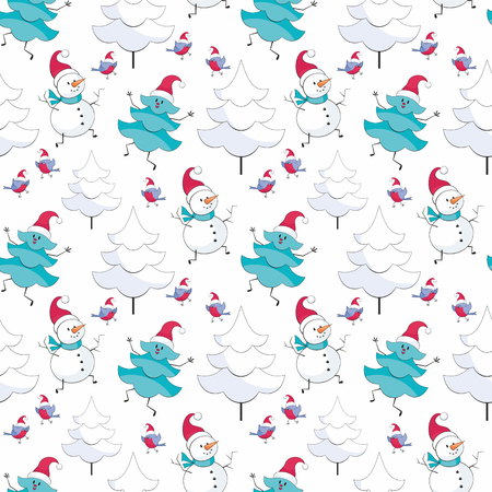 Christmas seamless pattern with  snowman and fir trees. Childhood  background in cartoon style.