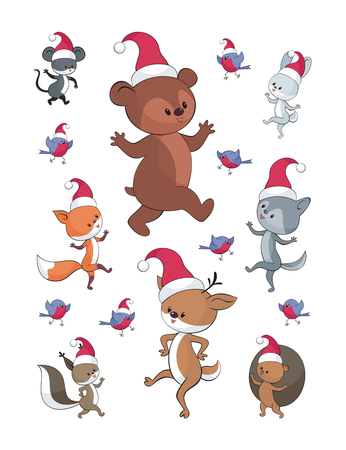 Cheerful  woodland animals in cartoon style. Christmas illustrations isolated on a white background.