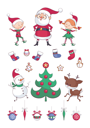 Christmas set. Cute Santa, elves and dancing animals. Childhood  illustrations  isolated on a white background. Illustration