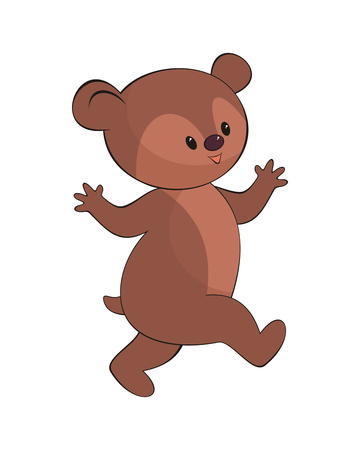 Cheerful  bear in cartoon style  on a white background.