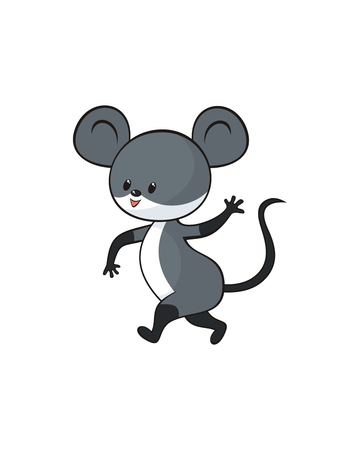 Cheerful  mouse in cartoon style  on a white background.