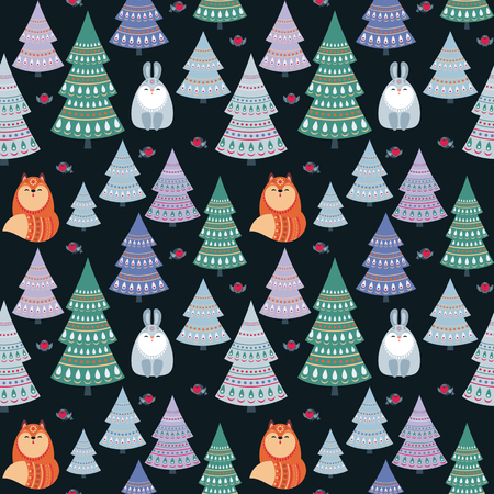 Christmas seamless pattern with cute animals. Childhood vector background in ethnic style.